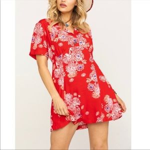 FREE PEOPLE Hawaii Floral Boho Mini Dress RED XS